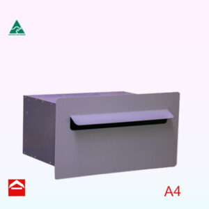 Front view of the Valerie-Selena rear opening letterbox that is suitable for brick work. Aluminium front plate 410x220mm attached to a letterbox 350 wide x 250 deep x 175mm high.