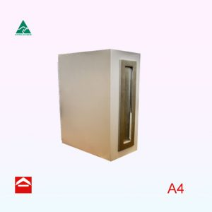 Large vertical rectangular letterbox with hinged rear door. Satin Chrome mail plate with hinged flap. Takes A4 and is in Shale Grey.