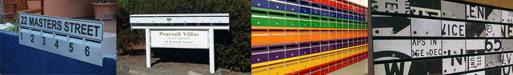 Images of four letterboxes for multi-unit buildings