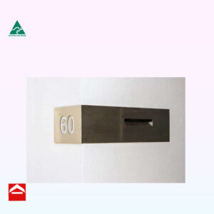 Image of a stainless steel front plate that wraps around a corner with the number on one side and the mail box on the other
