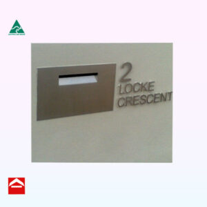 Stainless steel front mail plate with address in stainless steel