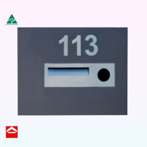 Stainless steel front plate with mail slot and newspaper holder to right with stainless steel numbers above
