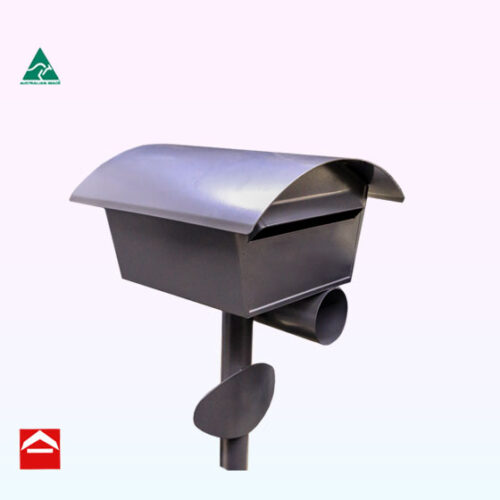 Angled front side view of the medieval Suburbia with a shallow come and rear opening letterbox atop a 50mm round post with newspaper holder and oval curved number plate